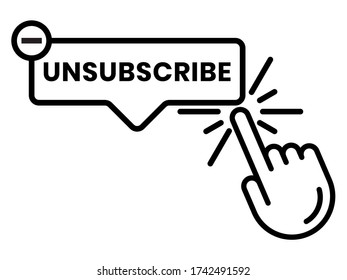 unsubscribe message / mail button - line art icon for the apps or website