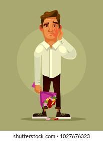 Unsuccessful bad date concept. Vector flat cartoon illustration