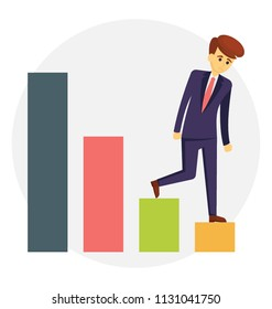 Unsuccessful businessman walking on decreasing graph, conceptual icon of career failure