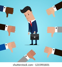 Unsuccessful and sad businessman and many hands with thumbs down. Dislikes and negative feedback concept. Vector illustration