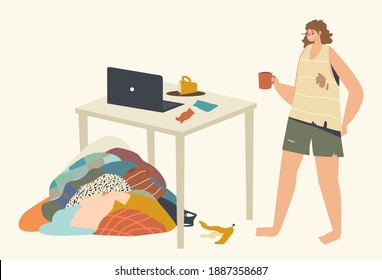 Untidiness Concept. Piggy-Wiggy Female Character in Dirty Clothes Drinking Tea at Messy Living Room with Trash and Garbage on Table and Pile of Dirty Clothes Lying on Floor. Linear Vector Illustration