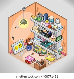 Untidy storeroom with lots of things stuffed in a shelf (isometric view)