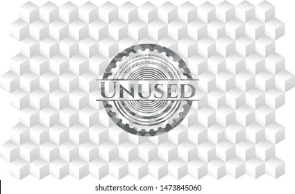 Unused realistic grey emblem with geometric cube white background
