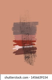 Unusual abstract art painting with grunge shapes, brushes.