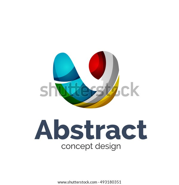 Unusual abstract business vector logo template - wave