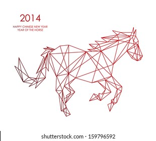 Unusual abstract triangle web composition animal shape: 2014 Chinese New Year of the Horse illustration. Vector file organized in layers for easy editing.