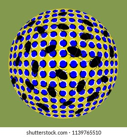 Unusual ball executed in the form of fluctuating blue polygons and black bugs. Optical illusion of the movement. Abstract background. 3d effect. Creative modern design. Style op art.