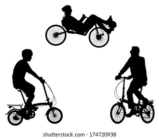unusual bicyclist silhouettes