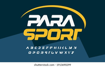 Unusual bold italic font, awesome sport style alphabet with cropped letters for modern logo, headline, lettering and typography of auto and para sport. Futuristic letters, vector typographic design