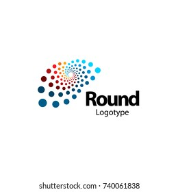 Unusual brain, circular abstract logo. New digital technology round logotype. Computer innovation sign. Circle vector shapes. Colorful art science symbol.