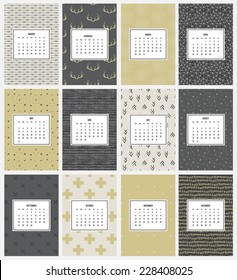 Unusual calendar for 2015 on hipster seamless backgrounds.