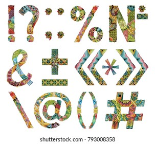 Unusual colorfull alphabet doodle style punctuation marks on a white background