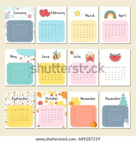 Unusual Cute Calendar 2018 Week Starts Stock Vektorgrafik