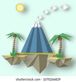 Unusual decorative paper origami concept with flying islands on which there are erupting volcano, palms. Colorful fantasy landscape. Vector Illustrations Art Design.