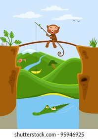 Unusual fishing. Little monkey sitting on the bridge and fishing, try to catch crocodile using like a fishing bait banana