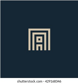 Unusual geometric letter A. Architecture vector logo. Isolated monogram.