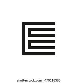 Unusual geometric letter E. Architecture vector logo. Isolated monogram.