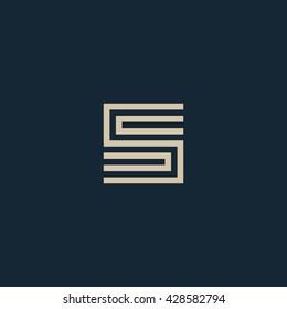 Unusual geometric letter S. Architecture vector logo. Isolated monogram.