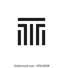 Unusual geometric letter T. Architecture vector logo. Isolated monogram.