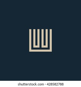 Unusual geometric letter W. Architecture vector logo. Isolated monogram.