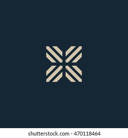 Unusual geometric letter X. Architecture vector logo. Isolated monogram.