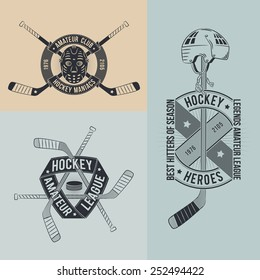 Unusual hockey logo, emblem  with sticks, helmets, goalie mask in retro style for clubs and competitions.