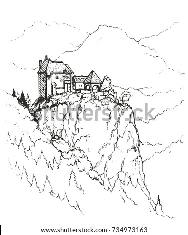 unusual house on top wooded hill stock vector royalty free Norway Snow an unusual house on top of a wooded hill old vintage wooden house on hill in rural countryside on bonaventure island in quebec canada sketch of landscape