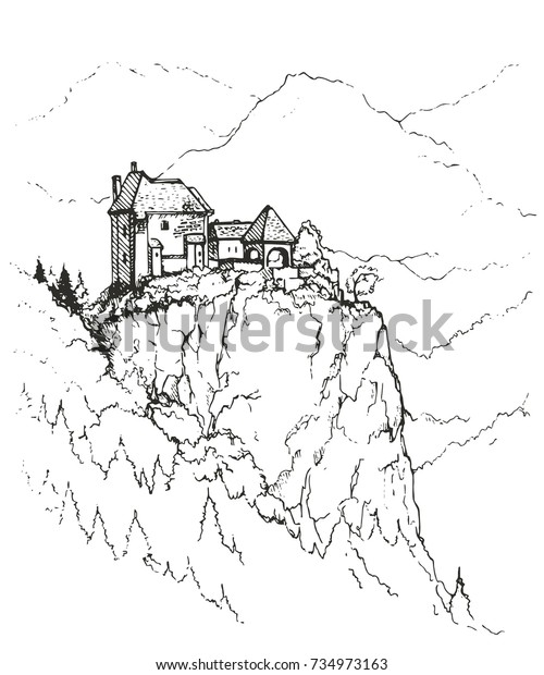 An unusual  house on top of a wooded hill.Old vintage wooden house on hill in rural countryside on Bonaventure Island in Quebec, Canada.Sketch of landscape.