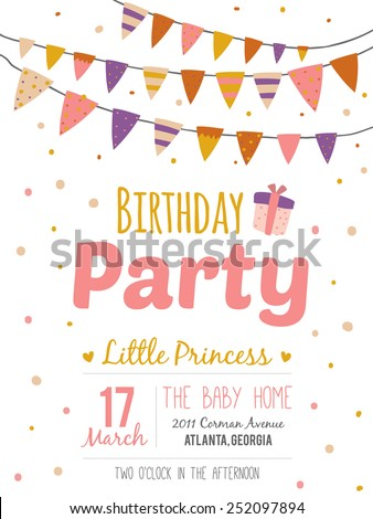 Unusual inspirational, romantic and motivational quotes invitation card. Stylish happy birthday poster in cute style with bright garlands and sparkles for boy. Template for print design.
