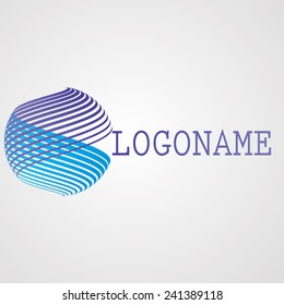 Unusual Logo Design with Stripes. Vector Illustration.