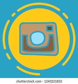 unusual look web icon of modern lineart camera. Digital application Instagram
