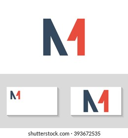 Unusual minimal monogram M and 1. Business logo template