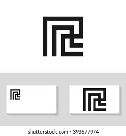Unusual minimal monogram R. Business logo template