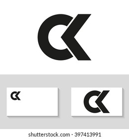 Unusual minimalistic monogram C and K. Business logo template. C and K logo. C and K icon. CK logo. CK icon. Vector logo