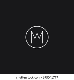 Unusual modern creative connected fashion brands black and white color MW WM M W initial based letter icon logo.