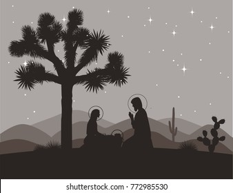 Unusual nativity scene with Joshua tree. Saint family and mountains silhouettes. Vector illustration, Mary, Jesus, and Joseph