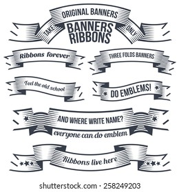 Unusual old school ribbons and banners for emblems and logos. Halftone-style prints or tattoos. Text grouped separately and can be easily removed.