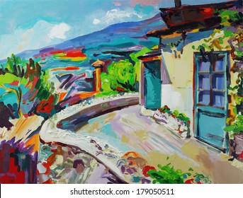 Unusual original art composition of summer landscape. Autotrace image. Vector illustration. Oil painting on canvas. Modern Impressionism