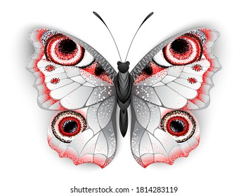 Unusual, realistic butterfly peacock eye, gray and red on white background.