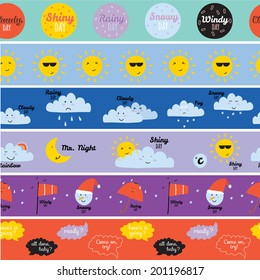 Unusual seamless vector childish pattern with cartoon and funny smiley weather icons. Vector illustration in cute style. Can be used like happy birthday cards. Sunny, cloudy, rainy, snowy, windy.