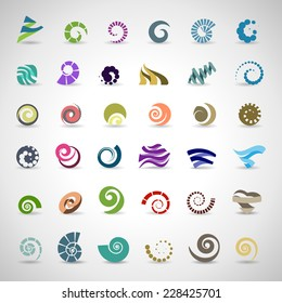 Unusual Spiral Set - Isolated On Gray Background - Vector Illustration, Graphic Design Editable For Your Design