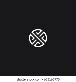 Unusual unique creative trendy geometric artistic black and white color S initial based letter icon logo.
