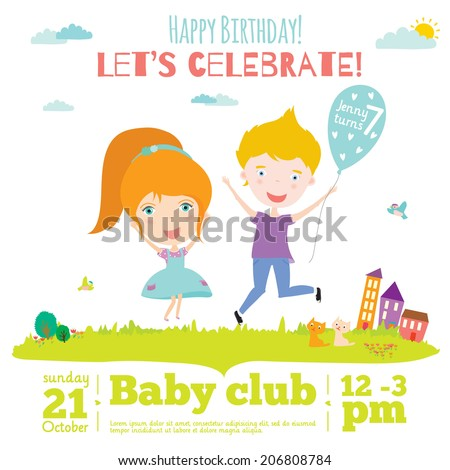 Unusual Vector Happy Birthday Invitation Card With Smiling And Jumping Kids In Vintage Hipster Style