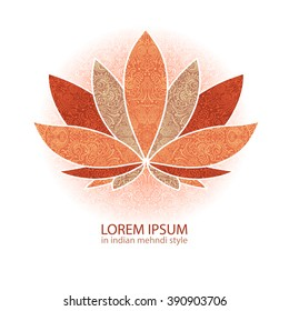 unusual Vector  image of a lotus, ornate paisley mandala and mehendi. Great for greeting cards, yoga, Store spices, ethnic shop and printing.