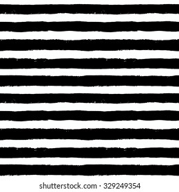 Unusual vector painted seamless pattern, brush strokes. Grunge geometric background. Distress texture. White black stripes design. Wallpaper, fabric print, furniture. Contrast graphic textile.