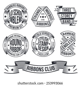Unusual vintage banners in the style of engraving or stamp, for emblems. Endless, round, arched ribbons for logo.Text for example and can be easily removed.
