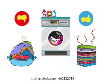 Unwashed and Washed clothes with machine and chemical products. Approval icons are yellow gloves. Editable Clip Art.