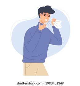 unwell man coughing. Concept of Bronchitis, common cold, coronavirus, influenza, fever or seasonal disease, infection. Respiratory viral sickness, illness. Flat vector cartoon illustration character.