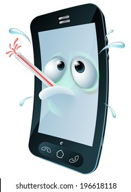 An unwell mobile phone mascot character overheating and sweating with a thermometer in its mouth. Concept for a broken phone or one with a virus.