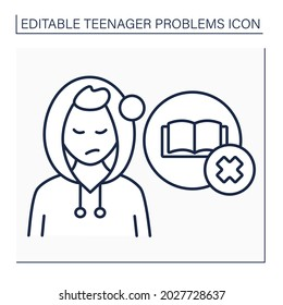 Unwillingness to learn line icon. Self-expression. Protest against school system. Reluctance getting skills. Teenager problem concept. Isolated vector illustration. Editable stroke